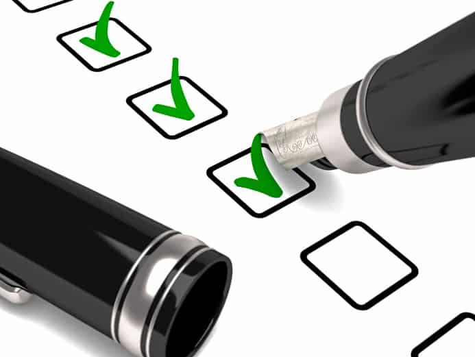 Formulaire avec une checklist