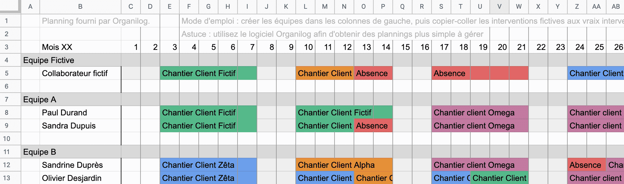 Planning Excel A Telecharger
