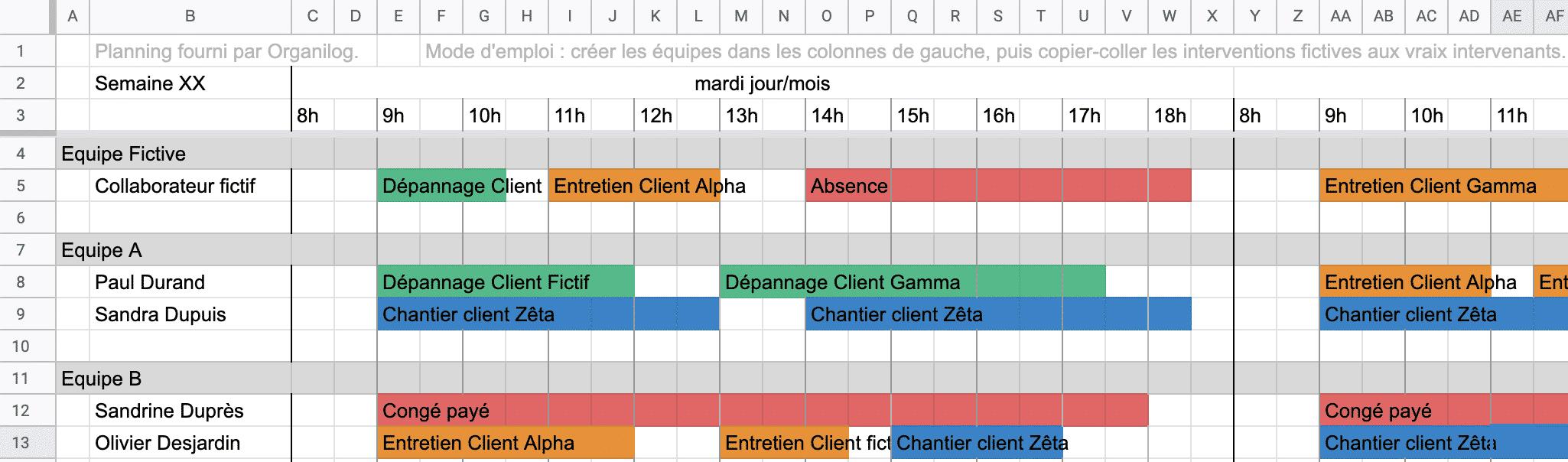 Planning Excel à la semaine